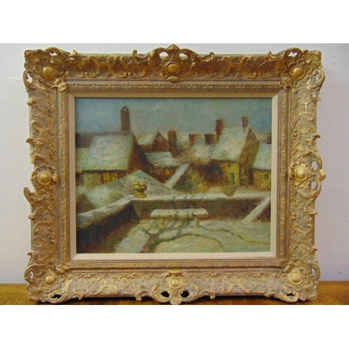 102 - A framed oil on canvas of a village scene, indistinctly signed bottom left, 42.5 x 50cm...