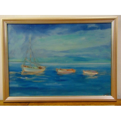 103 - A framed oil on canvas of boats at sea, 50 x 70cm...
