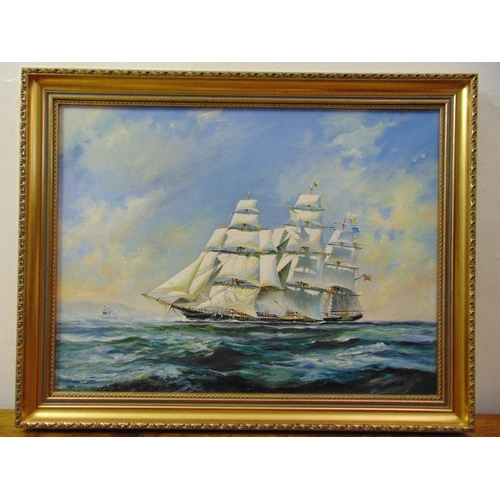 104 - Malcolm Winter framed oil on canvas of a four masted sailing ship, signed bottom right, 45 x 59.5cm...