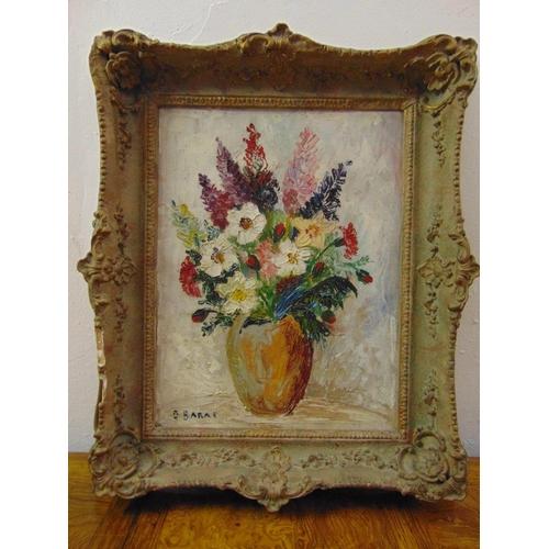 105 - Barat framed oil on canvas still life of flowers, signed bottom left, 40 x 31cm...