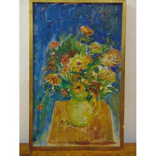 106 - Lapeyte framed oil on canvas still life of flowers, signed bottom left, 61 x 38cm...