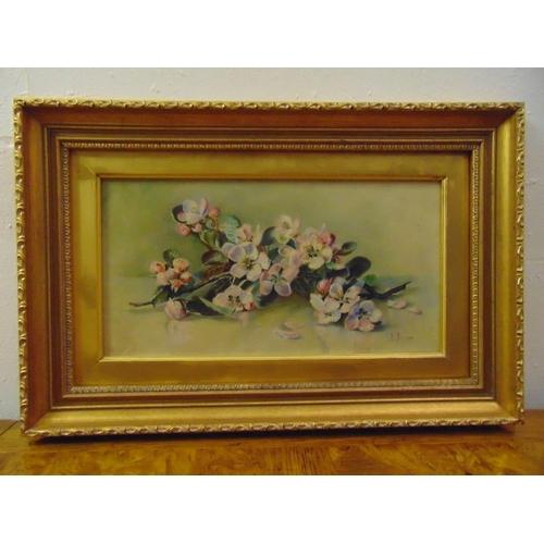 107 - A framed oil on panel still life of flowers, monogrammed ED 1909, 19 x 36cm...