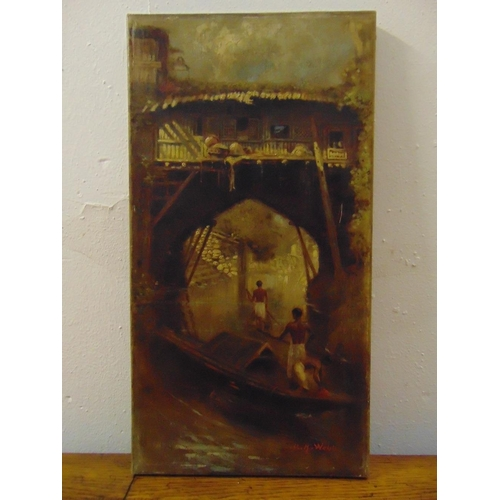 108 - M.H. Webb oil on canvas of figures on rafts under a bridge, signed bottom right, 48 x 25cm...