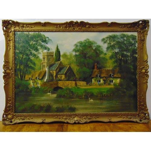 109 - Malcolm Gearing framed oil on canvas of Piddletrenthide Dorset, signed bottom left, 60 x 91cm...