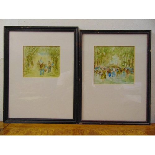 110 - J.P. Declercq two framed and glazed acrylics of figures in a park, signed bottom right, 17 x 18cm an...