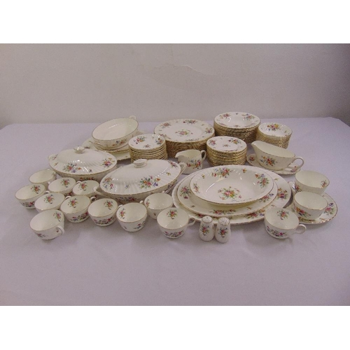 112 - Minton Marlow dinner service to include plates, bowls, serving dishes, condiments and a sauce boat o...