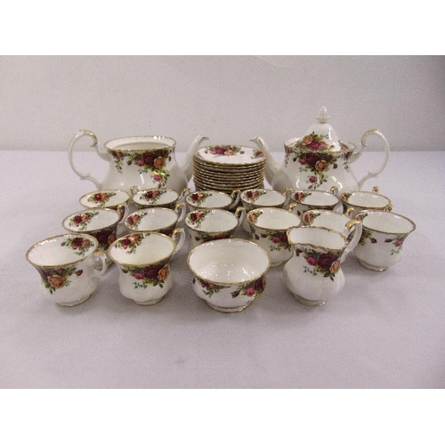 114 - Royal Albert Old Country Roses tea set to include cups, saucers, milk jug, sugar bowl, two teapots (...
