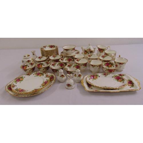 118 - Royal Albert Old Country Roses teaset to include a teapot, milk jug, sugar bowl, cake plates, sandwi...