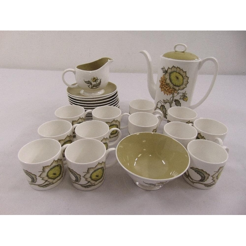 119 - Susie Cooper Sunflower coffee set to include coffee pot, milk jug, sugar bowl, cups and saucers (27)...