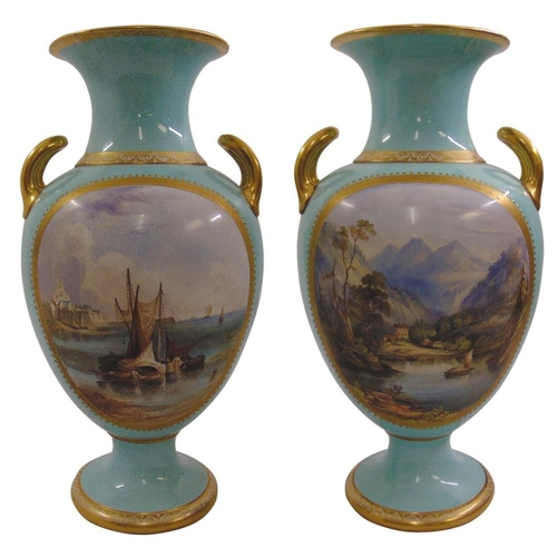127 - A pair of Davenport baluster vases hand painted side panels depicting coastal and landscape scenes w...