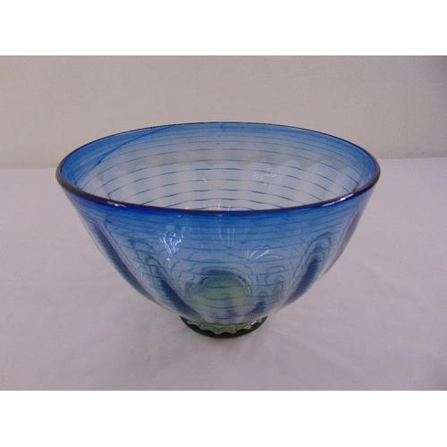 168 - Whitefriars circular blue threaded bowl on rim foot...