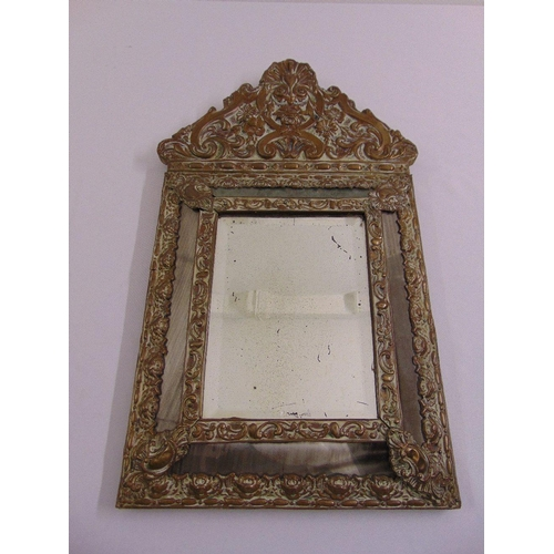 20 - A 19th century continental brass wall mirror with five mirrored panels...