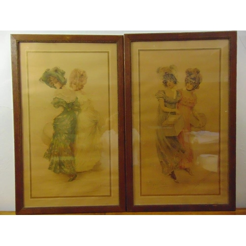 25 - Vallet-Bisson two framed and glazed polychromatic etchings of ladies in 19th century costume, 80 x 4...