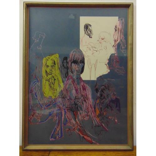 28 - Felix Topolski framed and glazed polychromatic lithographic print of figures, 80/150 signed bottom r...
