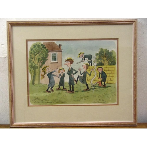 29 - Jan Brychta framed and glazed illustration for BBC Jackanory of schoolgirls up to mischief signed bo...
