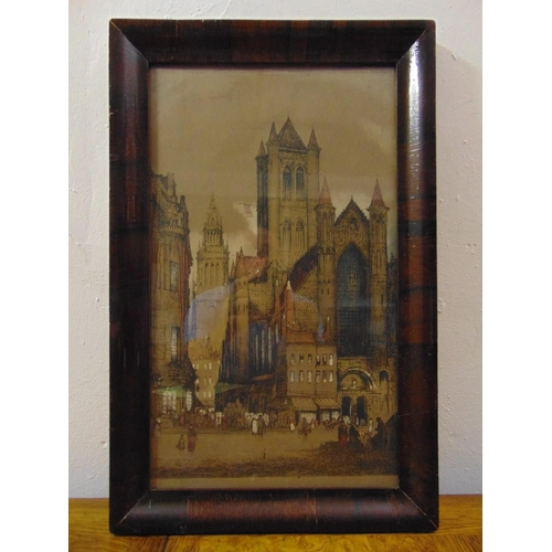 30 - Edward W. Sharland framed and glazed polychromatic etching of a cathedral, signed bottom left, 44 x ...