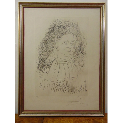 31 - Dali framed and glazed monochromatic print of a figure with extravagant hair 173/250 signed bottom r...