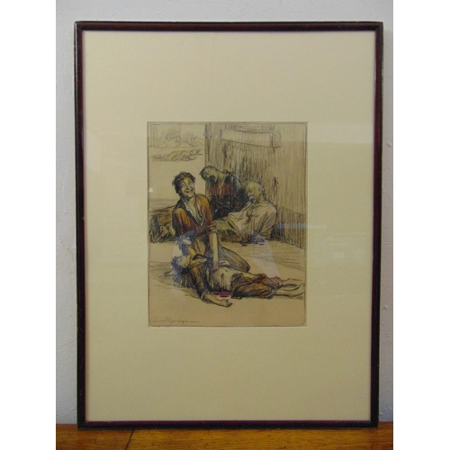 34 - Louis Raemaekers framed and glazed polychromatic drawing titled Mater Dolorosa, signed bottom left, ...