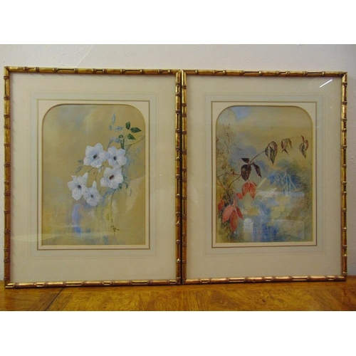 35 - A pair of Chinese style framed and glazed watercolours of flowers, 33.5 x 24cm...