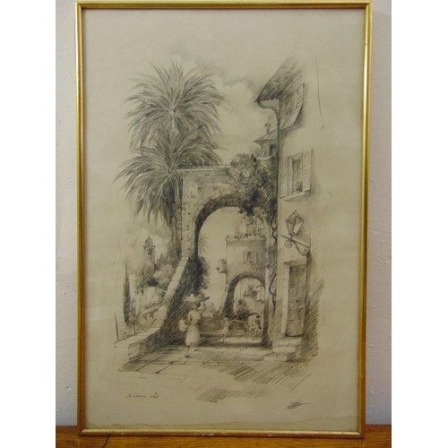 37 - A framed and glazed pencil drawing of San Remo indistinctly signed bottom right, 63 x 38cm...
