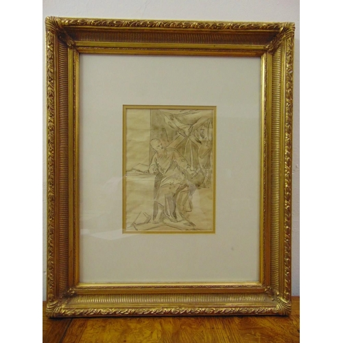 38 - A framed and glazed sepia drawing of a classical figure, 26 x 19cm...