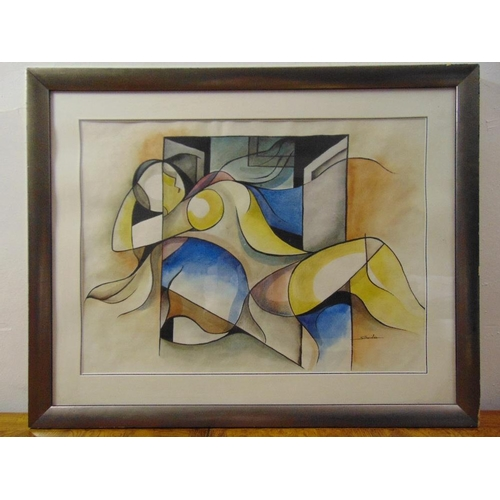 39 - Sarandra framed and glazed watercolour of a reclining lady, signed bottom right, 50 x 69cm...