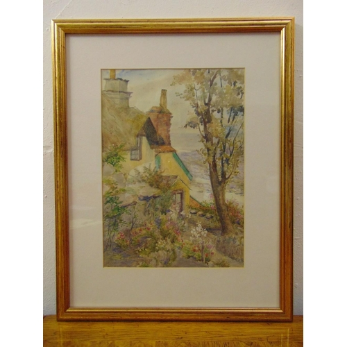 42 - Agnes E. Ferman 1910-1939 framed and glazed watercolour of a country cottage, 34.5 x 24.5cm...