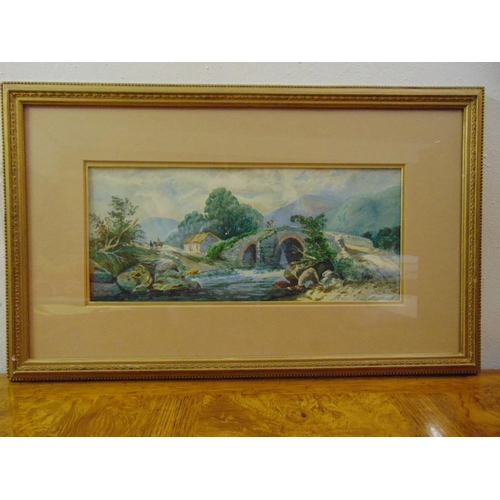 45 - Jessie Huntley two framed and glazed watercolours of country scenes, signed bottom left, 18 x 42.5cm...