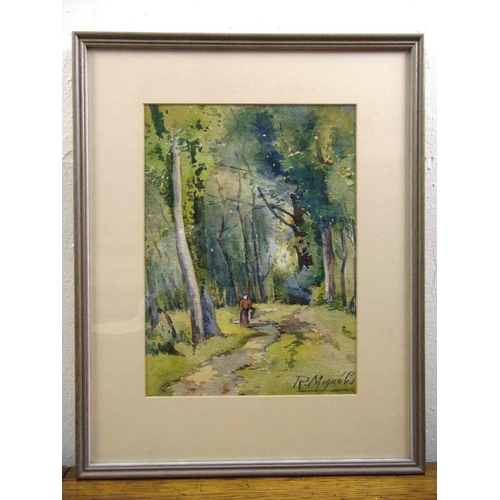 46 - R Miquels framed and glazed watercolour of a figure on a country path, 27.5 x 20cm...