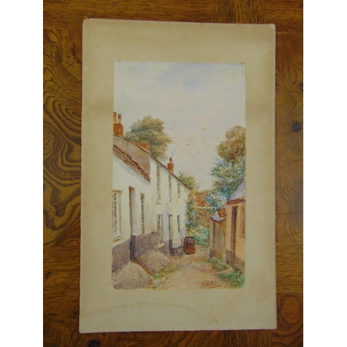 47 - W. Sands watercolour of a cottage and trees, signed bottom right, 30 x 18cm...