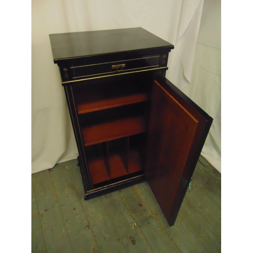5 - An Edwardian rectangular ebonised inlaid mahogany music cabinet with bevelled mirror to hinged door ...