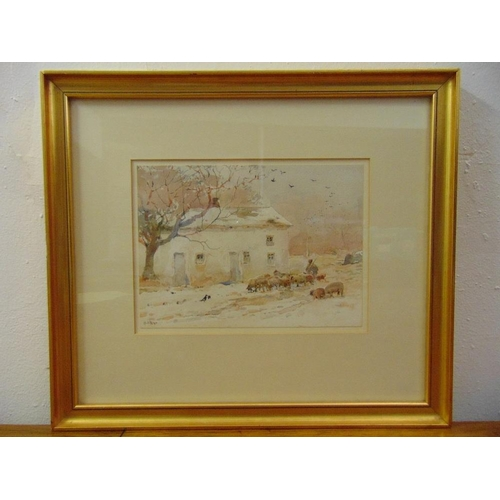 50 - Claude Hayes framed and glazed watercolour of sheep by a barn, signed bottom left, 18 x 25cm...