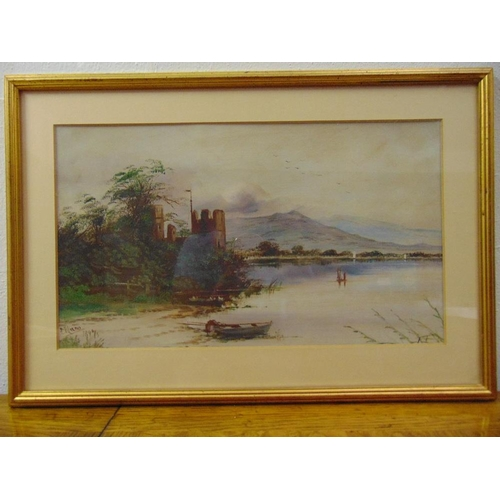 52 - E. Mann a pair of framed and glazed watercolours of Scottish loch scenes, 21.5 x 37cm...