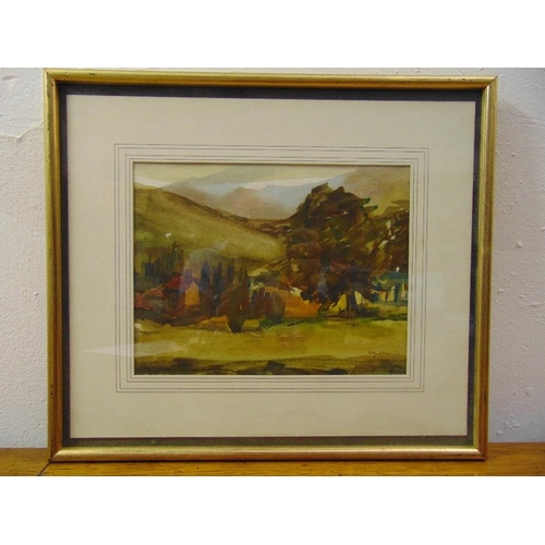 53 - C Yudkin framed and glazed watercolour of a country landscape signed bottom right, 18.5 x 24.5cm...