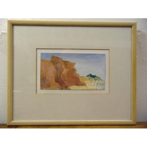 55 - Lady Muriel Cuckney (Scott Boyd) framed and glazed gouache titled Cliffs at Vale do Lobo monogrammed...