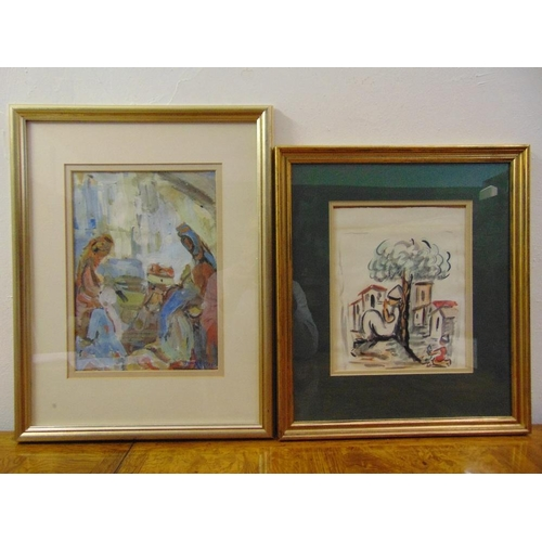 61 - Two framed and glazed gouache on paper of figures in landscapes, 33 x 23.5cm and 27 x 22cm...