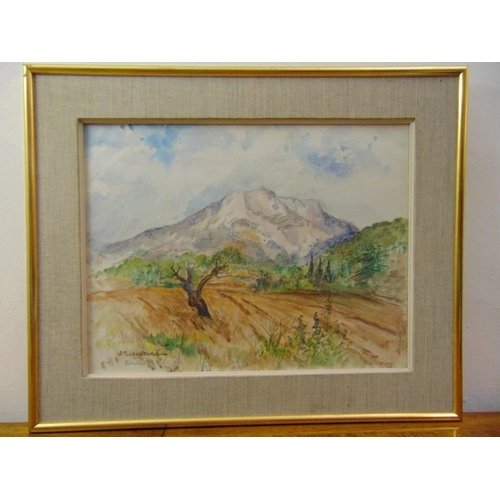 65 - J.M. Loustaunau framed and glazed watercolour of Beaudeval France, signed bottom right, 49 x 64cm...