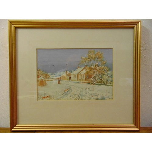 67 - D.R. Sellars 1854-1922 framed and glazed watercolour of a winter scene, signed bottom left, 18 x 26....