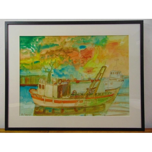 69 - John Bellany 1942-2013 framed and glazed watercolour of a tug boat in a harbour, signed bottom left,...