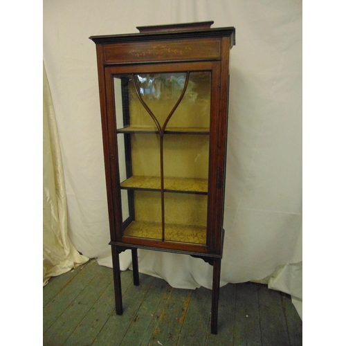 7 - An Edwardian rectangular inlaid mahogany glazed display cabinet on four tapering rectangular legs...