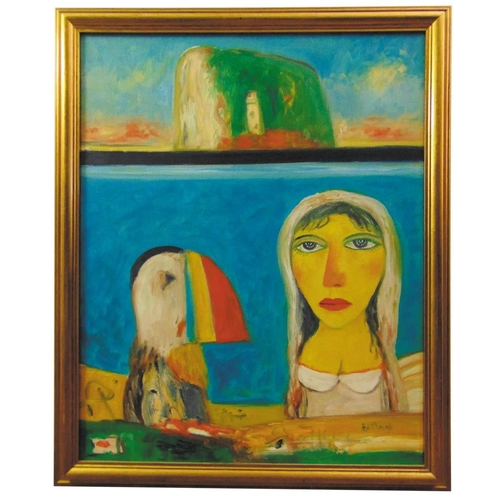 70 - John Bellany 1942-2013 framed oil on canvas of a lady with a puffin with Bass Rock in the background...