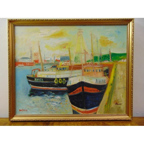71 - John Bellany 1942-2013 framed and glazed oil on canvas of fishing boats in a harbour, signed bottom ...