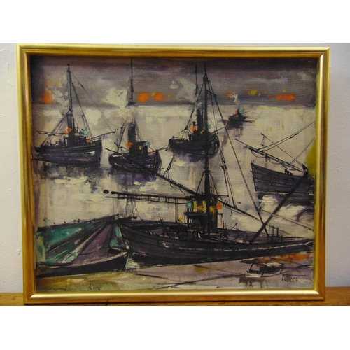 72 - Mike Francis framed oil on canvas of stylised boats in a harbour signed bottom right, 50 x 61cm...