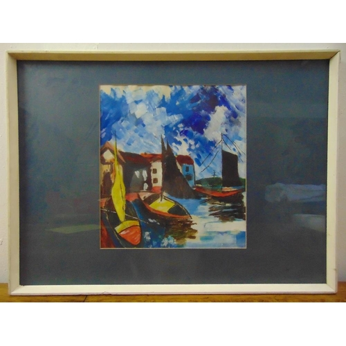 73 - A framed and glazed acrylic of boats in a dock, label to verso, 34 x 31cm...