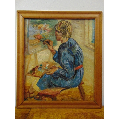 76 - Elvic Steele framed oil on panel The Artist at her Easel, signed to verso, 52 x 44.5cm...