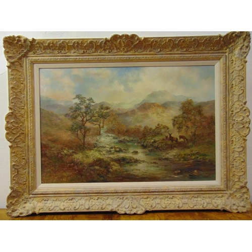 78 - Prudence Turner framed oil on canvas of a Highland scene with stags by a stream, signed bottom right...