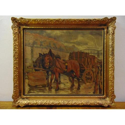 79 - Jaroslav Prochazka 1886-1949 framed oil on canvas of horses pulling a cart, signed bottom left, 49.5...