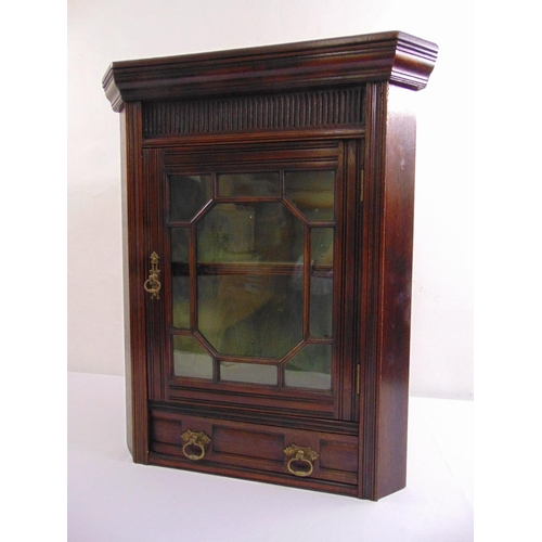 8 - An early 20th century rectangular mahogany glazed wall hanging corner cabinet...