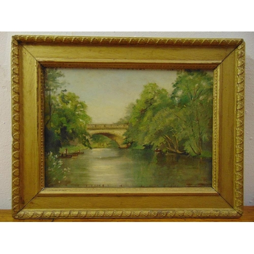 81 - A framed oil on panel of a river with a bridge in the background, 24 x 34cm...
