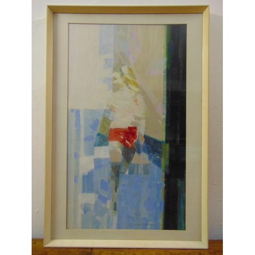 82 - Dexter Brown framed and glazed acrylic on board titled Girl in a Red Skirt, 72 x 42cm...